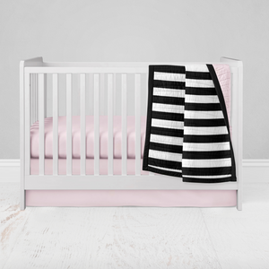 Crib Bedding Set 2 pc - Blush Pink Stripe
