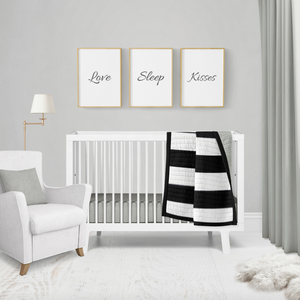 Silver Gray Stripe Crib Quilt