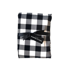 Cotton Fitted Crib Sheet - White Buffalo Check
