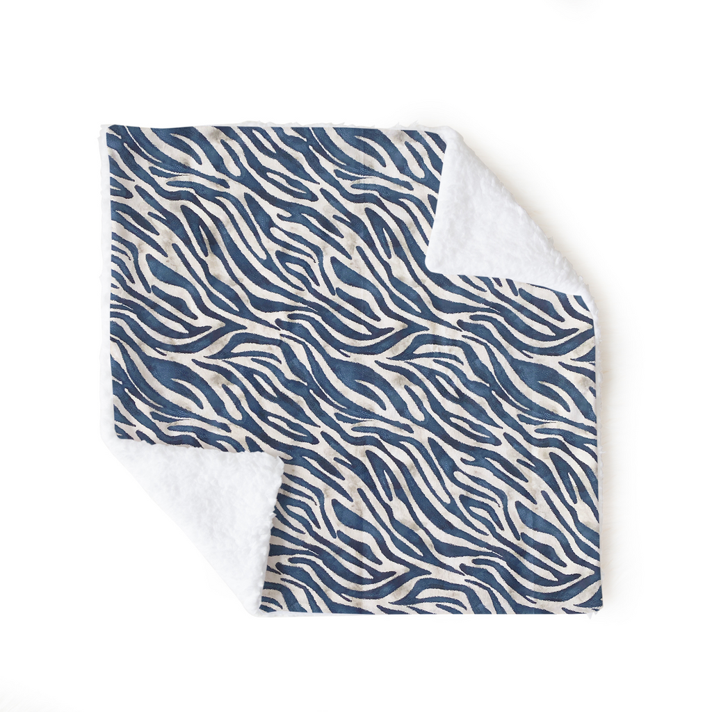 Navy Zebra Lovey Blanket