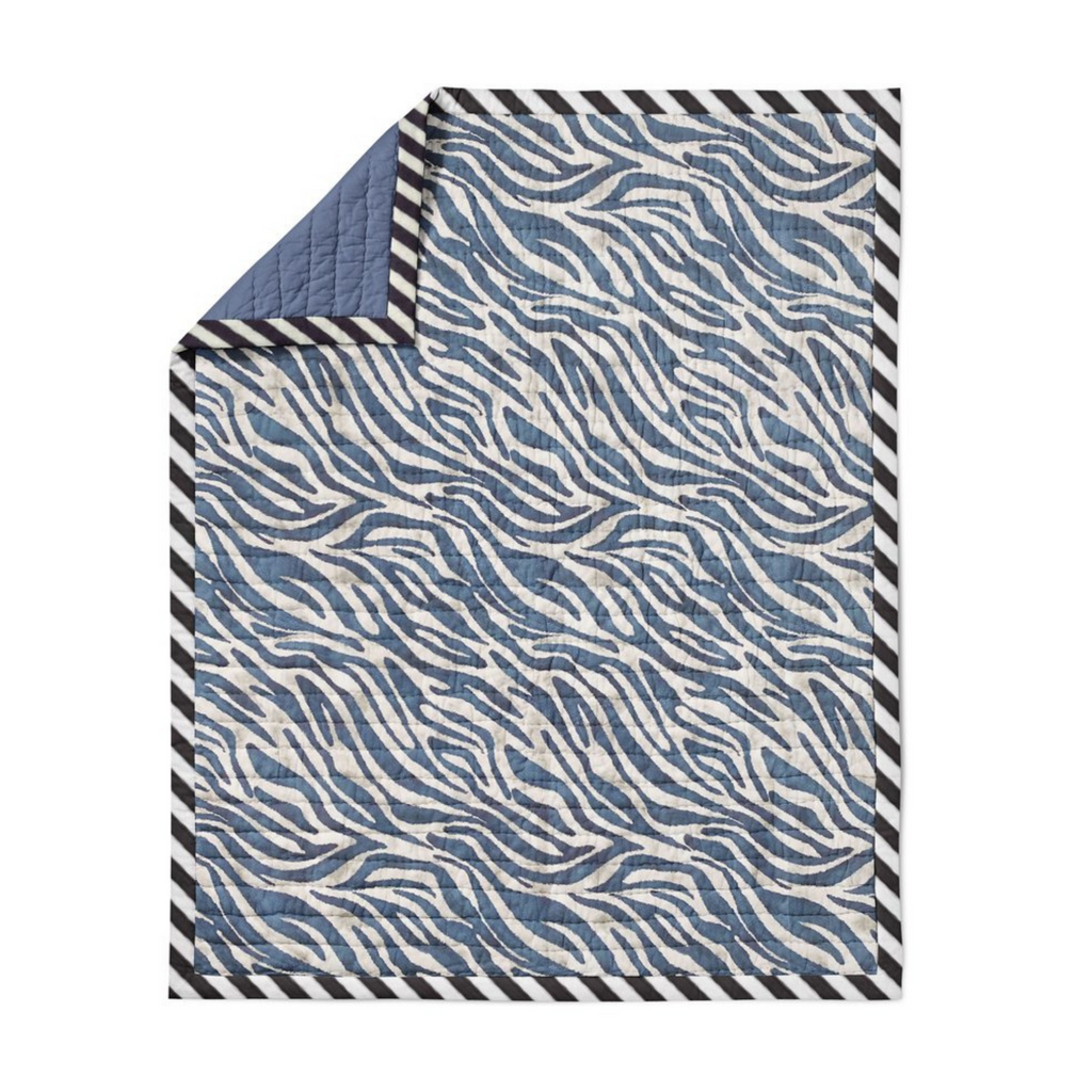 Navy Blue Zebra Crib Quilt