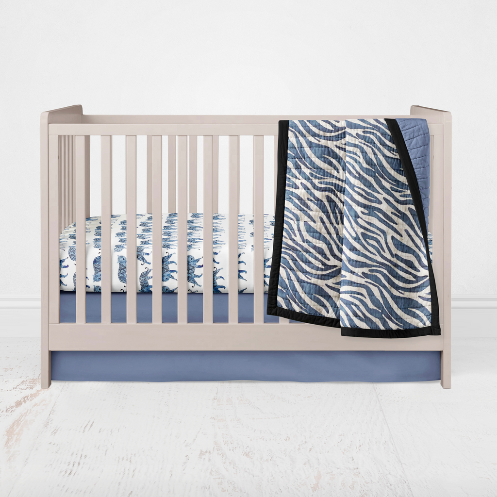 Crib Bedding Set 2 pc - Navy Blue Zebra