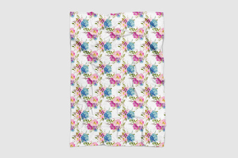 Pink and Blue Floral Baby Blanket