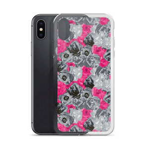 Pink & Gray Floral iPhone Case