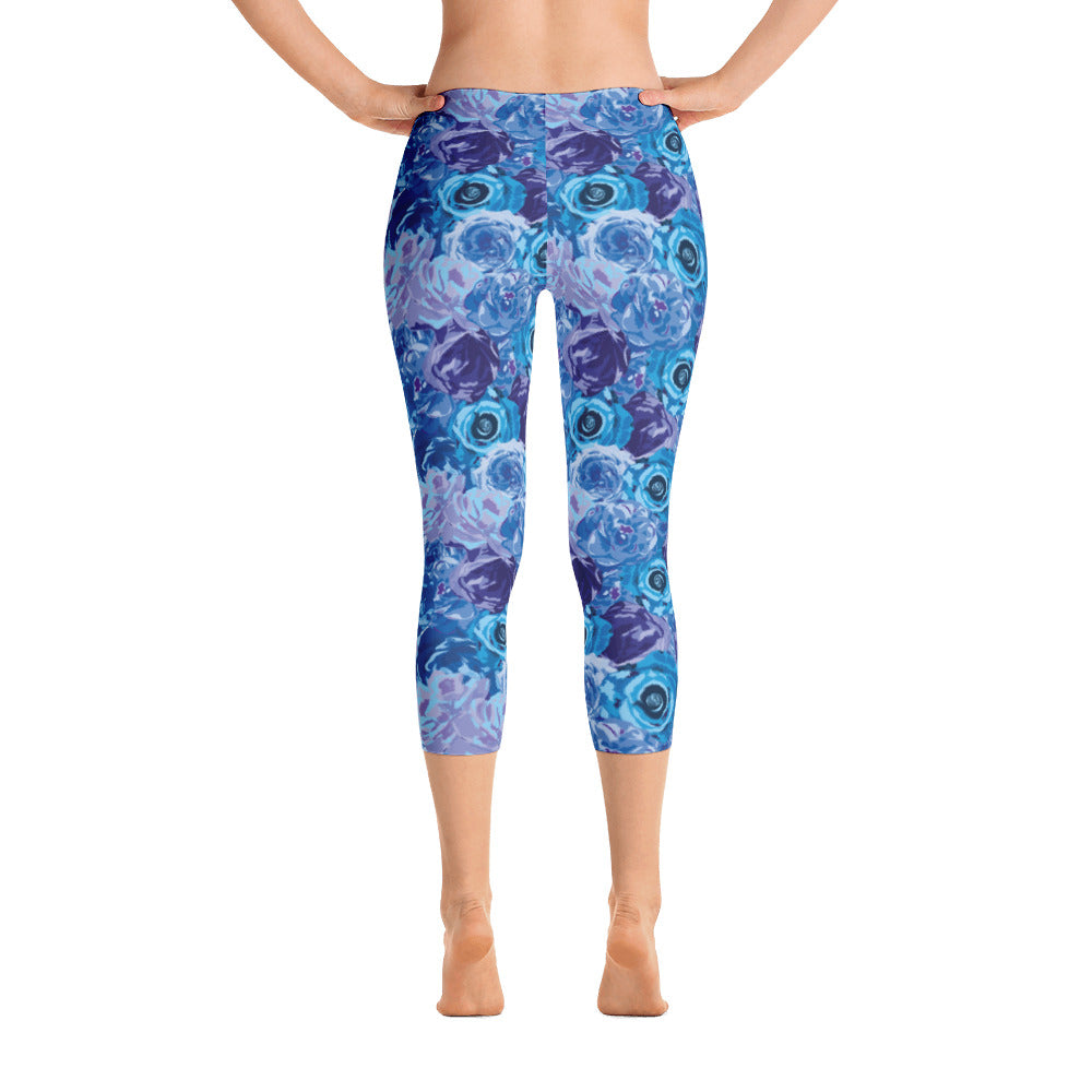Blue Floral Capri Leggings