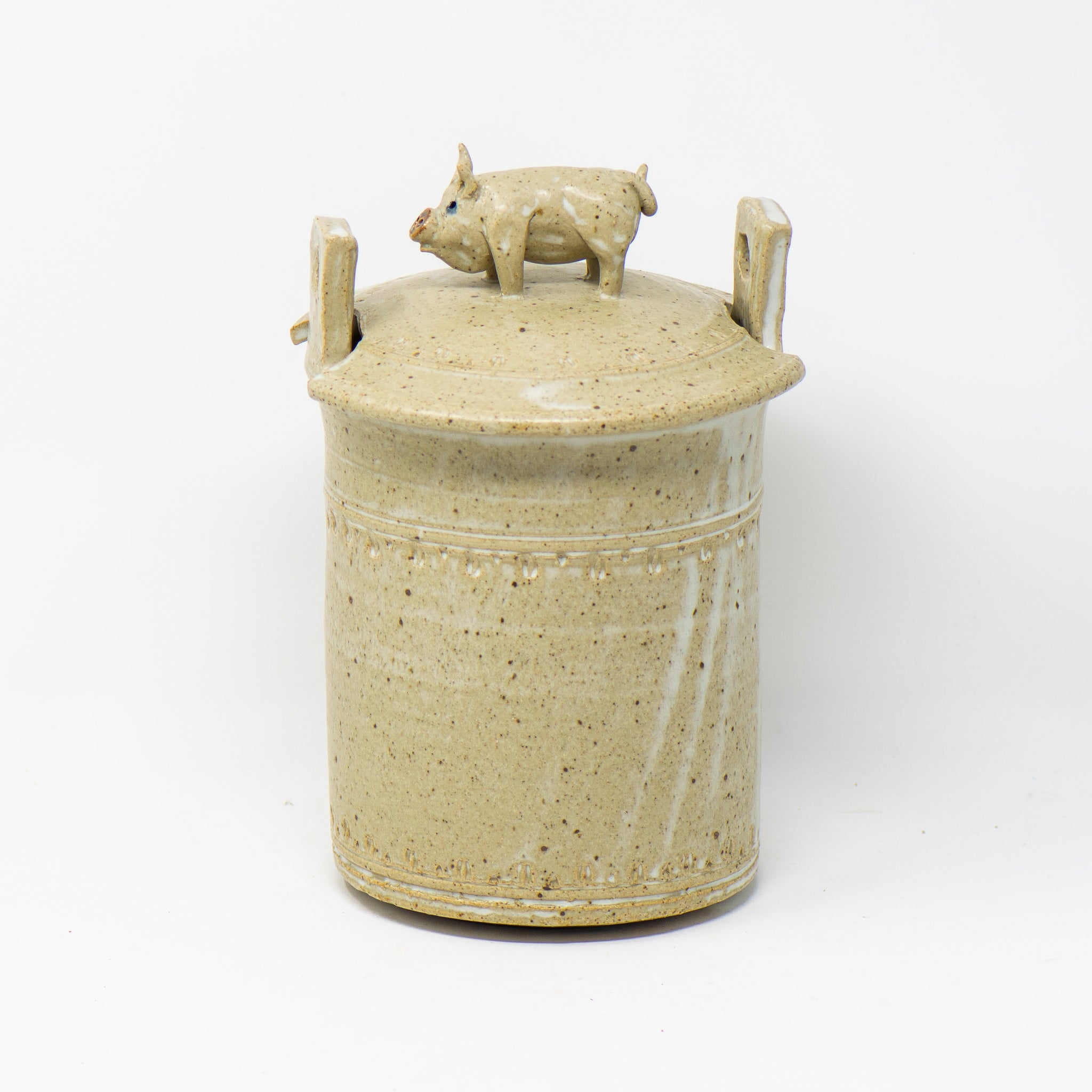 Lidded Crock with Pig Handle