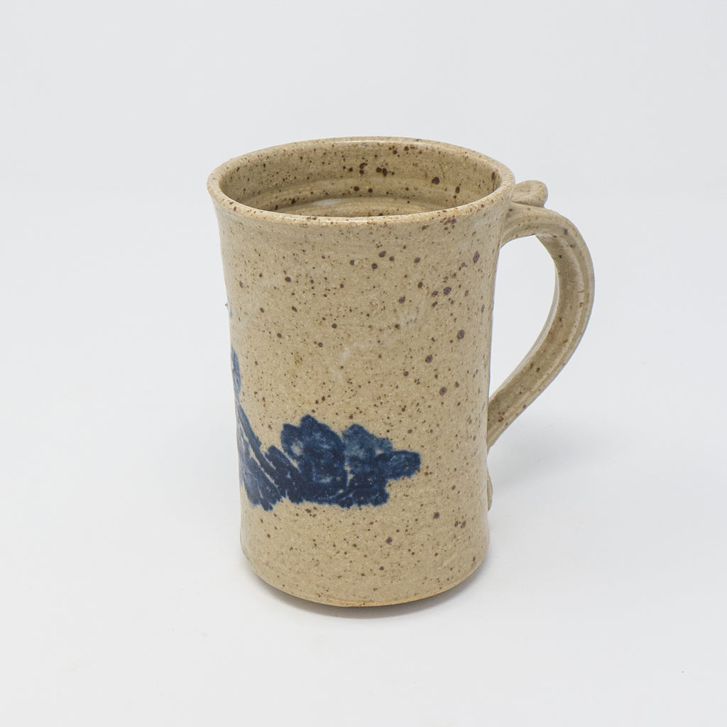 Tokheim Stoneware Rosemaled Mug in Oatmeal with True Blue Rosemaling  Edit alt text