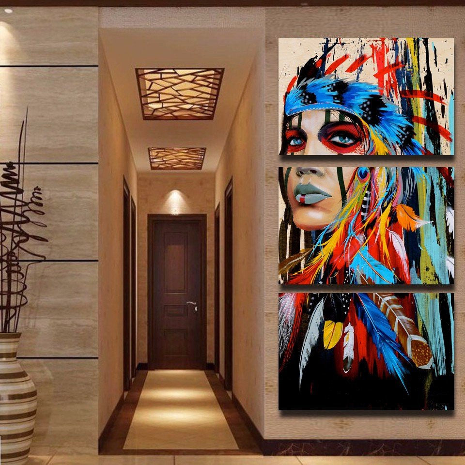 Sacred Indian Native American Limited Edition 3 Piece Wall Art Canvas