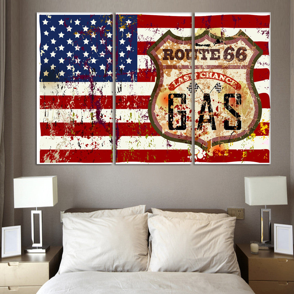 3 piece wall art painting american flag in red white and blue