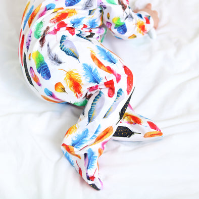 Rainbow Feather print cotton sleepsuit