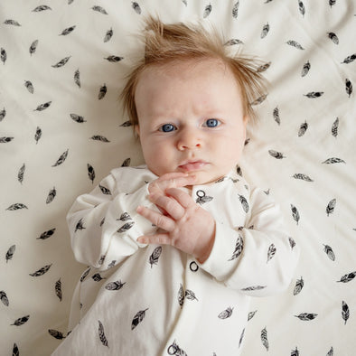 NEW Feather print cotton sleepsuit