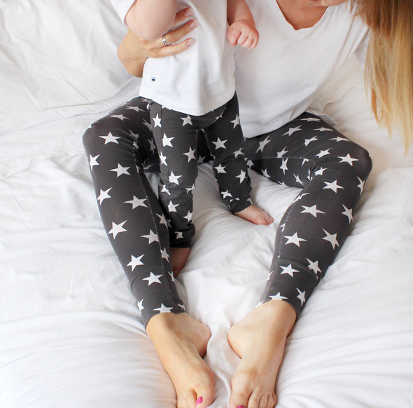 Adult Grey star print Leggings - Fred & Noah