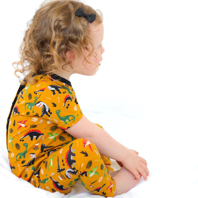 Unisex Yellow Dino playsuit
