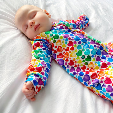 Rainbow Heart cotton sleepsuit