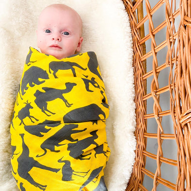 Yellow Safari Organic Muslin Swaddle