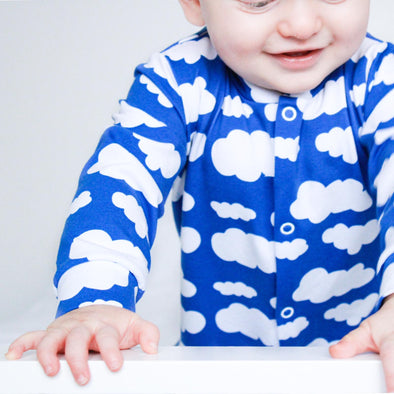 Blue cloud cotton sleepsuit