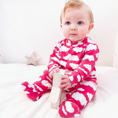 Pink cloud cotton sleepsuit