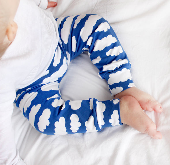 Blue Cloud Print Baby Leggings - Fred & Noah