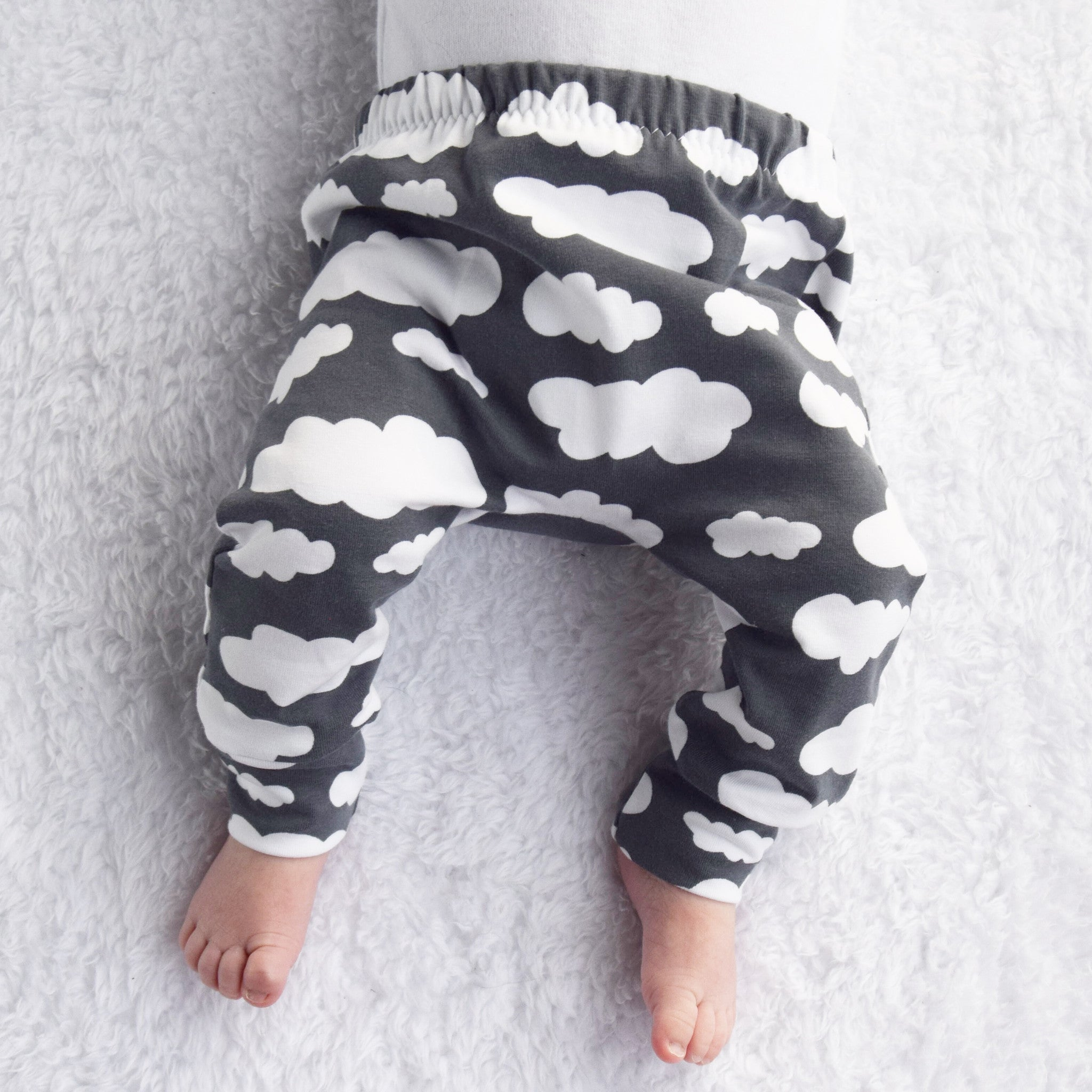 Grey Cloud Print Baby Leggings