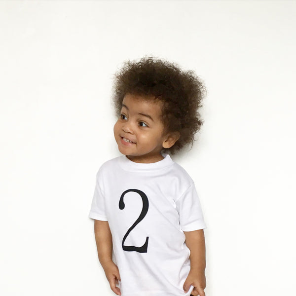 Birthday number 2 T-Shirt available in White , Black & Gold - Fred & Noah
