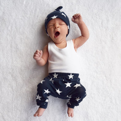 Navy star Print Baby Leggings - Fred & Noah