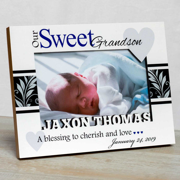Grandson Frame White-Boy First Grandchild Frame Grandparents Picture Frame Grandparents Frame Studio1workshop Personalized Baby Picture Frame