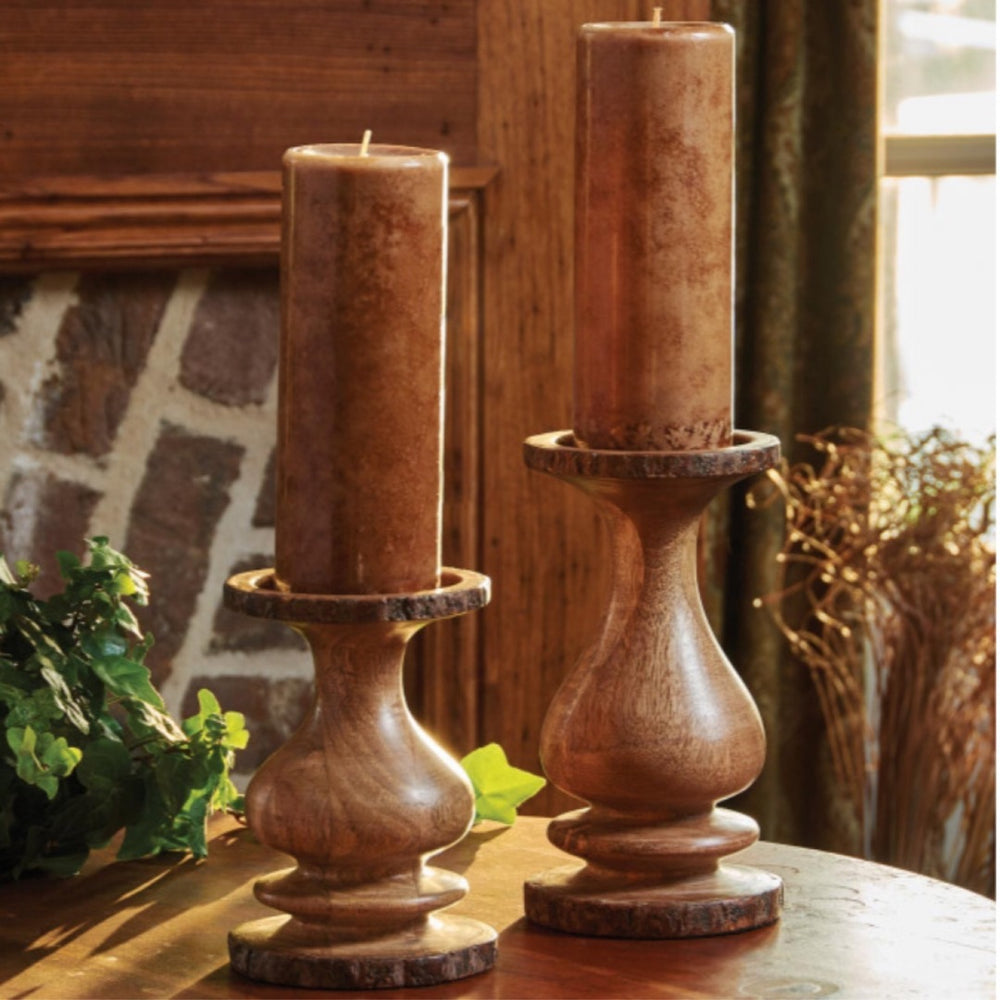 Wood Pillar Candle Holder w/ Bark Edge
