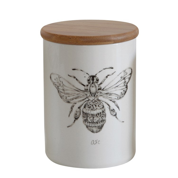 Bee Canister w/ Bamboo Lid