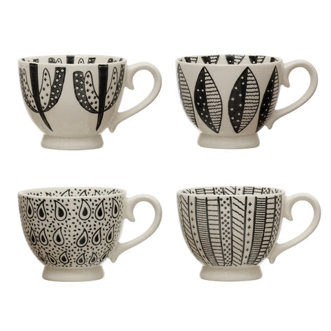 Black & Cream Stoneware Mugs