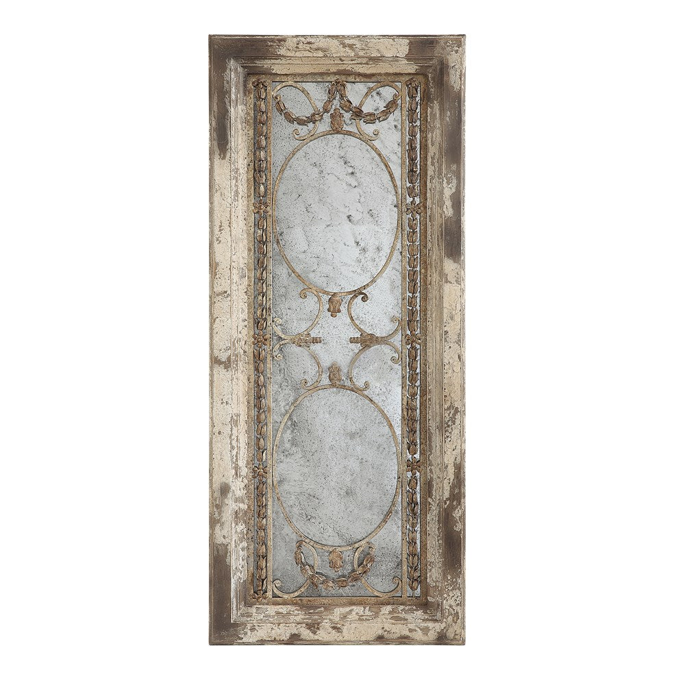 Antiqued Mirror w/ Metal Accents