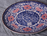 Blue, White and Pink Porcelain Plate/Platter