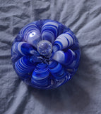 Vintage Blue and White St. Clair Glass Paperweight
