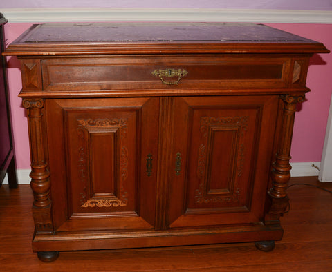Antique Marble Top Washstand; Walnut; Austrian; 19th Century