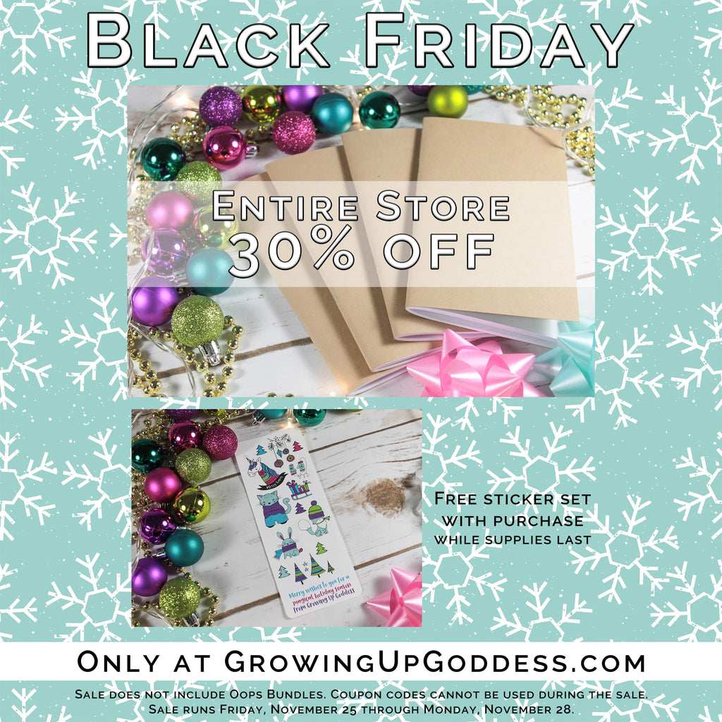 Black Friday Cyber Monday Discounts at Growing Up Goddess
