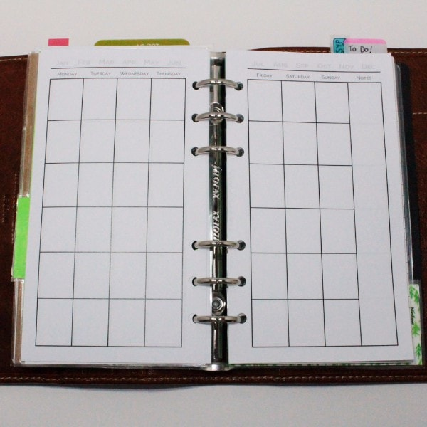 Month-on-Two-Pages Planner Inserts Printable Digital - Growing Up Goddess