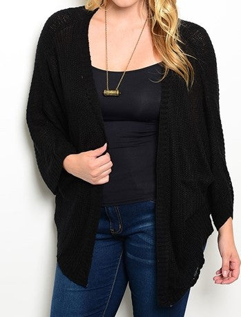 Plus Size Black Draped Cocoon Cardigan