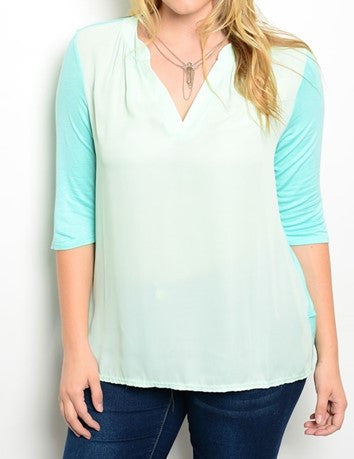 Plus Size Mint and Cream V-Neck 3/4 Sleeve Top