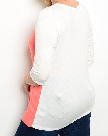 Plus Size Coral and Cream Flowing 3/4 Sleeve Top