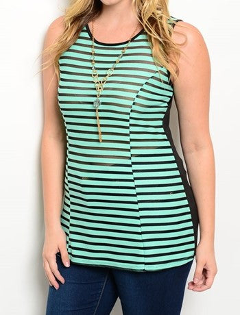 Plus Size Mint and Black Striped Top with Necklace
