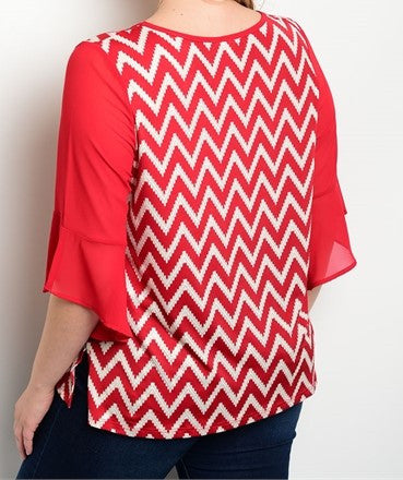 Plus Size Chevron Top with Flare Sleeves and Necklace