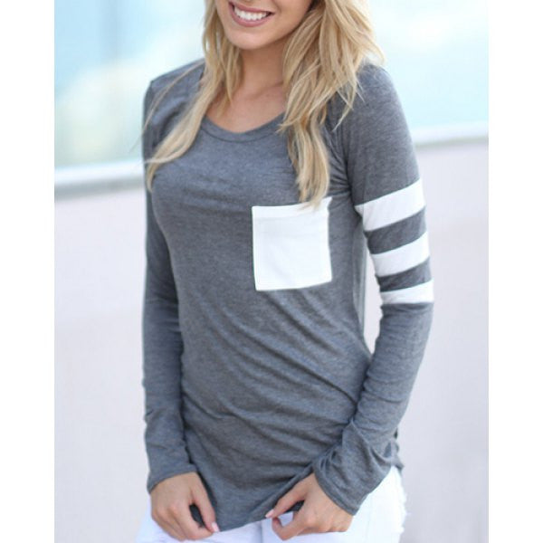Gray Block Striped Sleeve T-Shirt
