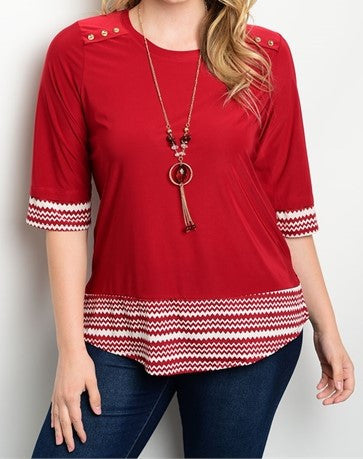 Plus Size Trendy Top in Red or Navy with Necklace