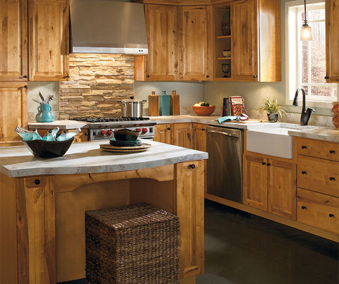 Country Sink Base shown with Aristokraft Dryden Kitchen Cabinets