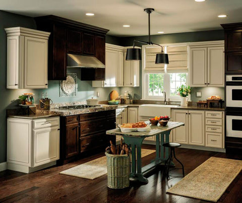 Aristokraft Purestyle Laminate Overton Kitchen Cabinets in Toasted Antique
