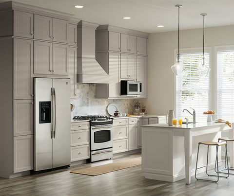 Aristokraft Durham Kitchen Cabinets in Glacier Gray