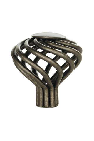 Large Flower Twist Pewter Cabinet Knob - H319