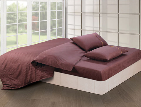 Buy Oxford Single Duvet Cover in Choco Colour -Online Happymonk India