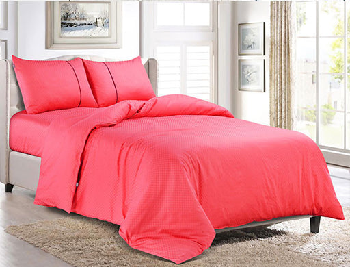 Buy Oxford Single Duvet Cover in Coral Pink Colour -Online Happymonk India
