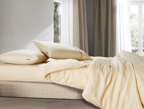 Buy Oxford Single Duvet Cover in Gold Colour -Online Happymonk India