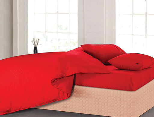 Buy Oxford Single Duvet Cover in Red Colour -Online Happymonk India